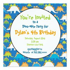 These Cute Dinosaur Birthday Party Invitations Are Great For Any Prehistoric Just Add Your Own Wording To The Template Very