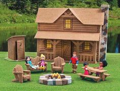 Make a log cabin in plastic canvas patterns - Log Cabin from Leisure Arts presents a fun addition to the Best of Mary Maxim collection of plastic canvas designs.. The two-story cabin features a rustic front porch and rock chimney. From the back, there is an open view into the interior (with 3-D furniture) of the living room, kitchen, and upstairs bedrooms. A coordinating lawn set has a fire pit, picnic table, Adirondack chairs, and an outhouse. aff link
