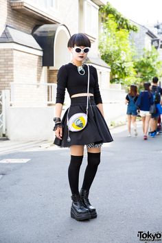 "tokyo-fashion: Moeka on the street in Harajuku wearing an all black look with a cropped sweater, Hellcatpunks skirt, as well as Demonia boots and other accessories from Never Mind the XU Harajuku. Full Looks "" Japan Street Fashion, Tokyo Street Style, Tokyo Fashion, Harajuku Fashion, Harajuku Mode, Harajuku Girls, Harajuku Style, Alternative Mode, Alternative Fashion"