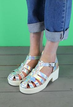 Womens New Metallic Platform Sandals JTR50 from revolva