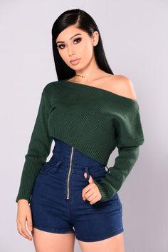 Shea Cropped Sweater - Hunter