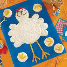 Cute idea. A set of cupcakes and a 6 in cake to create this delightful chicken cake.