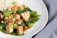 Hühnchen Kung Pao ♡ mit Pak Choi und Reis