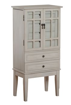 Kianna 5Drawer Jewelry Armoire with Mirror in Silver OffWhite