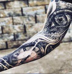 10 Most Coolest Sleeve Tattoos For Men - Augen Tattoo - Tatouage Time Tattoos, Body Art Tattoos, New Tattoos, Cool Tattoos, Tattoo Arm, Tattoos Pics, Tatoos, Lion Tattoo, Men's Forearm Tattoos