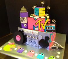 """Brilliant original design by """"Royalty Cakes"""". Customer requested the exact same cake for her 50th birthday party. Aqua hair spray and Rubik cube were made of rice krispies. The rest decor was fondant. Probably the most fun I had making a cake EVER :)"""
