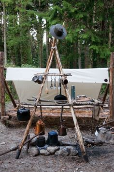 Beautiful camping kitchen made up from the woods around here.