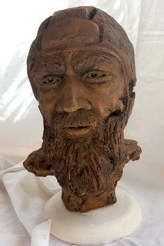 sculpture argile (terre cuite) patinée joueur de rugby  rugby player clay sculpture