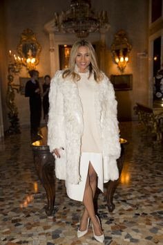 Ciara at the Calvin Klein Collection Afterparty winter white fur