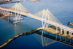 Fred Hartman Bridge - Baytown / La Porte Tx. The longest cable-stayed bridge in Texas replaced the Baytown / La Porte Tunnel which went under the Houston Ship Channel.