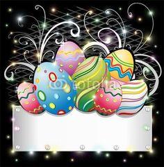 Easter Eggs on Silver Banner-Vector © bluedarkat