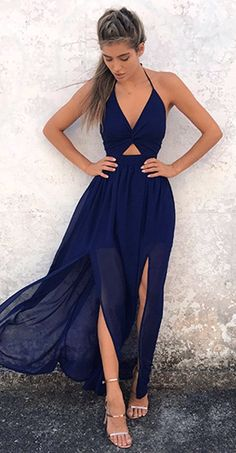 #summer #outfits  Navy Cut-out Maxi Dress   Metallic Sandals