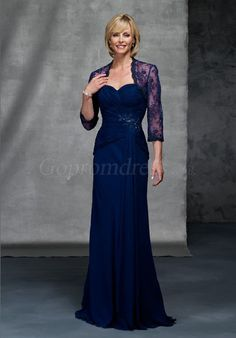 Chiffon Sweetheart With blue Lace Wrap Empire Mother of the Bride Dress picture 1