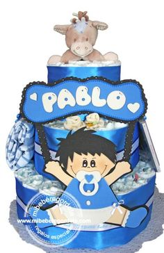 Regalo Personalizado Bebés. Tarta de Pañales para Pablo.  #regalosbebes #tartasdepañales #regalogomaeva