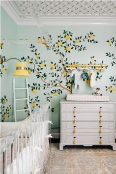 girl nursery decor with lemon tree wallpaper, feminine girl nursery design, traditional elegant nursery with lattice ceiling