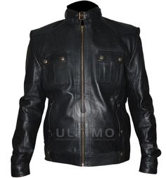 Black Strap Pocket Slim Fit Leather JacketJacket SpecificationOutfit type: Genuine Gender: MaleColor: BlackFront: Front Zip ClosureCollar: Standup Collar With BeltLining: Viscose LiningCuffs: Button CuffsPockets: Two Pockets on Chest and Two Inside