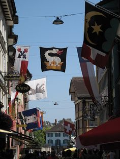 Appenzell, Switzerland - Family crest is still on the flag. The presence of this Sutter watches from afar swept away by folklore tales. Perhaps a ride in one day to take this play on words and reveal the stars as well as the moon. A deed misplaced belonging to family is sure to return. One day.