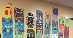 Thomas Elementary Art: Totem Poles by Grade Kindergarten Art, Preschool Art, Totem Pole Craft, Art History Lessons, Group Art Projects, Art Studies, Social Studies, Pole Art, Art Cart