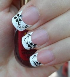 flowers on French manicure