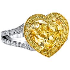 Convertible Heart Shaped Fancy Light Yellow GIA Cert Diamond Ring and Necklace | From a unique collection of vintage chain necklaces at https://www.1stdibs.com/jewelry/necklaces/chain-necklaces/