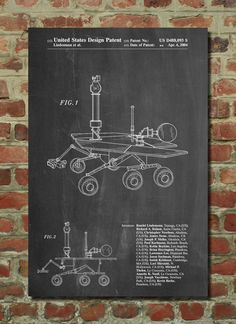 Mars Rover Patent Poster, NASA, Outer Space, Space Art, Technology Art, Geek Gift, PP227
