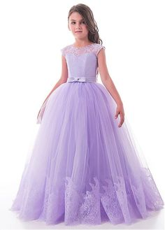 Attractive Lace & Tulle Jewel Neckline Cap Sleeves Ball Gown Flower Girl Dresses With Lace Appliques & Belt & Bowknot-Mag Br