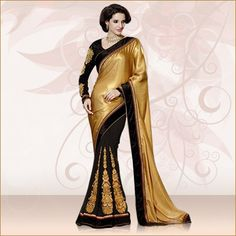 Look impeccably stylish in this #Beige and #Black #FauxGeorgette and #Satin #Saree available at Vivaahfashions.com. Buy this Half and Half saree online at http://www.vivaahfashions.com/Sarees/attractive-beige-&-black-embroidered-saree The saree features butta work, dangler, patch work, resham, #zardosi and stone embroidery.