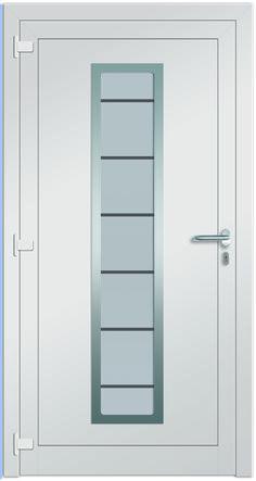 Hauseingangstüre WEGA - mit Drücker innen - Edelstahlapplikation und sandgestrahltem Glas mit klaren Streifen! Bei Fenster-Schmidinger aus Gramstetten erhältlich!