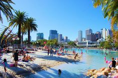 Beach culture brought to the city. Cheap Flights From London, Major Airlines, Brisbane City, Queenslander, Rock Pools, Sunshine State, Miyazaki, New York Skyline, Dolores Park