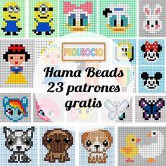 Hama beads, 23 patrones para descargar gratis Hama Disney, Hama Beads Disney, Perler Beads, Fuse Beads, Disney Hama Beads Pattern, Perler Bead Designs, Perler Bead Templates, Hama Beads Patterns, Beading Patterns