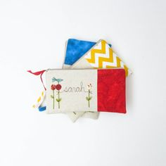 nautical wedding, set of 3 bridesmaid gift clutch purses, red yellow blue personalized clutches, MADE TO ORDER by mamableudesigns on etsy on Etsy, $126.00