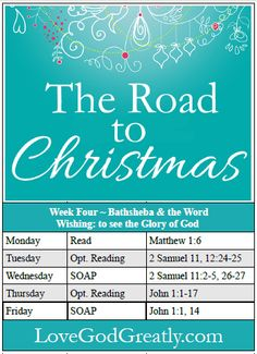 """{Week 4 - Reading Plan} of """"The Road to Christmas"""" Bible Study @ LoveGodGreatly.com #RoadtoChristmas #Advent"""