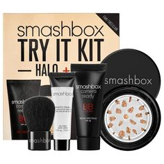 Smashbox Try It Kit: Halo + BB features a travel-size Smashbox Camera Ready BB Cream Broad Spectrum SPF 35, Halo Hydrating Perfecting Powder To-go, a deluxe sample of Photo Finish Foundation Primer Makeup, and a Baby Buki brush. #Sephora #ColorIQ