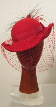 3938eee8558 Vintage 50 s Doesskin Red Woman s Detailed Hat with Veil. It is Decorated  with a Ribbon