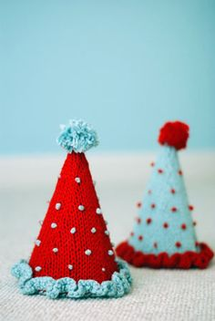 Knitted birthday hats
