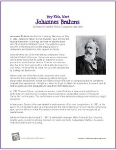 Johannes Brahms | Printable Biography | Cycle 2 Week 21