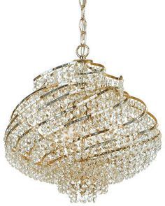AF Lighting Lyric 4-Light Crystal Chandelier Four light mini chandelier Includes Swag kit Metal and glass construction Glass accents shade Product Type Mini chandelier; Crystal  Shade Color Gold Majority structure material Metal Damp, Dry, or Wet Location Listed Dry Shade #ad