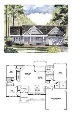 Traditional Style House Plan 94182 With 3 Bed 2 Bath 2 Car Garage Ranch House Plans Craftsman House Plans Craftsman House