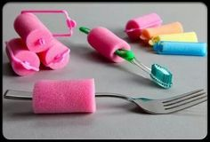 People with finger dexterity or arthritis may find it difficult to grab thin items. This sponge will allow the user to use as a grip and be able to use daily items such as forks and toothbrushes. They can be made at hom by simply cutting some foam such as the ones found on the hair rolls.