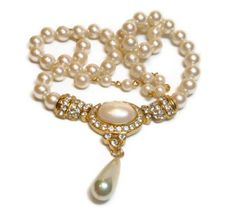 Marvella faux pearl choker with faux pearl by maggiescornerstore