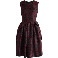 Chicwish Wine Rose Jacquard Dress (570 NOK) ❤ liked on Polyvore featuring dresses, red, holiday cocktail dresses, black cocktail dresses, red dress, evening dresses and black flare dress