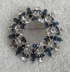 VTG Gustave Sherman Round Domed Rhinestone Brooch Navy AND Clear Signed Nice | eBay