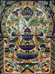 "Hand Painted Ceramic Tunisian Decor Wall Panel 12 tiles 18""x 24"" Fountain motif Painting Ceramic Tiles, Painted Tiles, Tile Art, Mosaic Tiles, Blue Color Combinations, Islamic Tiles, Artistic Tile, Antique Tiles, Tile Murals"