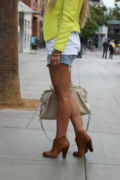 booties with cutoffs & neon blazer...very cute!