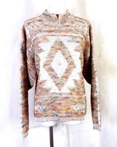 d8070014c8 vtg 70s retro Ladies Southwest Aztec Space Dye Sweater sz XL