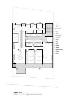 planta tipo. apoyos. baños al vacío. filtro cerámico en espacios predominantes. mesa. balcón