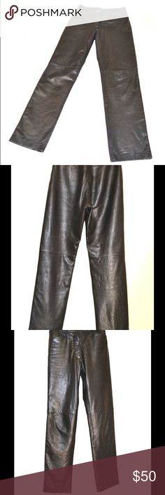 Vintage 90s bebe black leather jeans pants lined 1990s era High waisted, straight leg, thick buttery leather, lined to the knee, totally awesome bebe leather pants! VGUC tag size 4. Waist 13 across, rise 10, inseam 32, outseam 41, upper hip 15 across, lower hip 17 across. Leg opening 7 across. Sturdy zipper, front pockets, no rear pockets. Excellent quality of bygone bebe era. More leather pants in small sizes in my closet. WE ARE NOT an irritant/allergen free home. be advised…