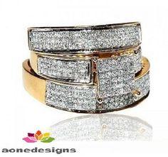 Yellow Gold Over Round Lab Diamond Wedding His & Hers Engagement Trio Ring Set  #Aonedesign #WeddingEngagementAnniversaryPromiseGift