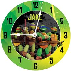 Personalized Teenage Mutant Ninja Turtles Turtle Power Wall Clock, Multicolor