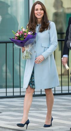 Brilliant in Blue: Kate Middleton Covers Her Royal Baby Bump in a Floral Frock and Pastel Coat  #InStyle